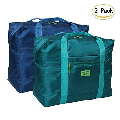 DRFLY Unisex bolsa de lona plegable 32L Ligera poco voluminoso Noche Holdall Barril Bolsa Para Compras Viajes Gimnasio equipaje acampa de los deportes(Paquete de 2)