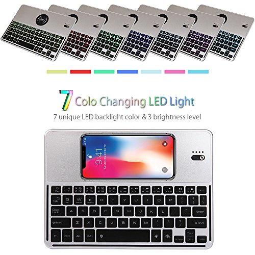 Tastiera Bluetooth Senza Fili-Caricabatterie wireless-Supporta tutti i dispositivi compatibili IQ con 7 colori di retroilluminazione-Per Tab,Mac,iOS, Android,PC,Windows e tutti i dispositivi Bluetooth