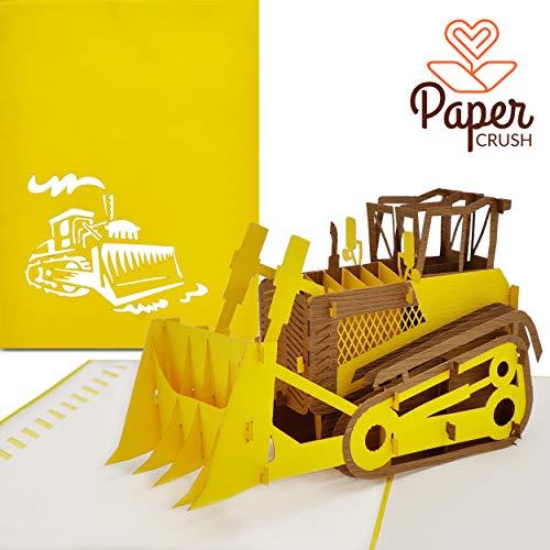 PaperCrush® Pop-Up Karte Bagger - Kinder Geburtstagskarte (z.B. für Jungen), 3D Glückwunschkarte zum Kindergeburtstag inkl. Umschlag