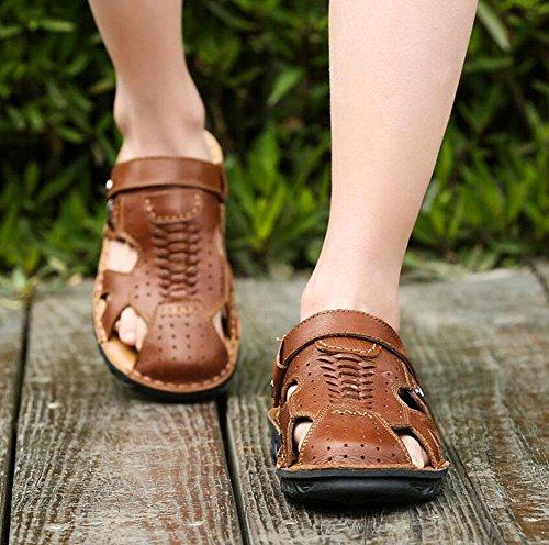 GLTER Slip su scarpe casuali 2017 Summer Sandali di cuoio di nuovi uomini di modo adatta i pattini di sport all'aria aperta pattini a doppio uso delle scarpe da tennis esterne impermeabili Dark Brown