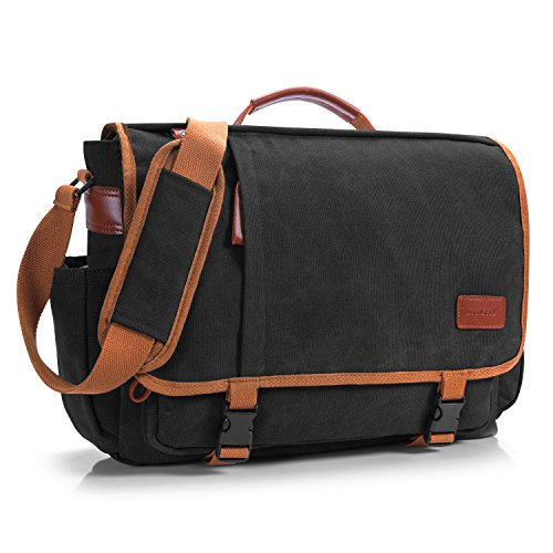 CoolBell 17 Zoll Aktentasche Messenger Bag Umhängetasche Laptop Tasche Handtasche Business Briefcase Multifunktions Reise Tasche Passend für 17-17,3 Inch Laptop/Damen/Herren(Canvas Schwarz)