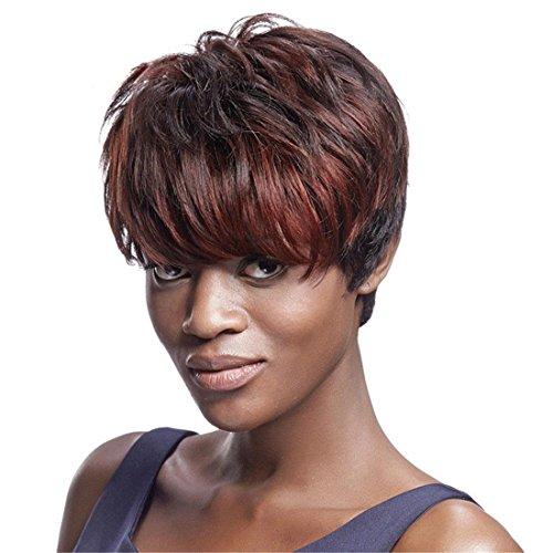 Meylee Perücken Kunsthaar Perücken sehr natürlich aussehende kurze wellig Perücken für schwarze Frauen billig große afroamerikanische Perücken mit kostenlosen Perückekappe und Perücke Kamm (Emo Billig Perücken)