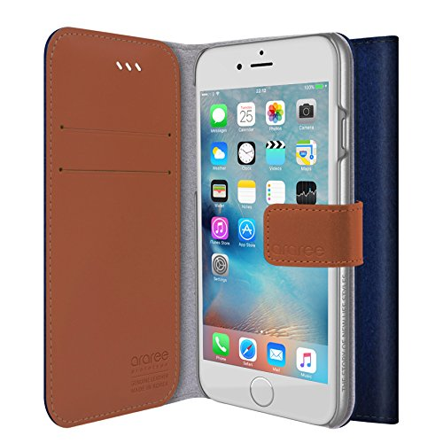 iPhone 6S Portafoglio copertura della, araree [Neat Diary] tessuto Premium Custodie del raccoglitore di vibrazione del cuoio genuino con il supporto della carta di credito per Apple (2015) - CASHMERE BLUE