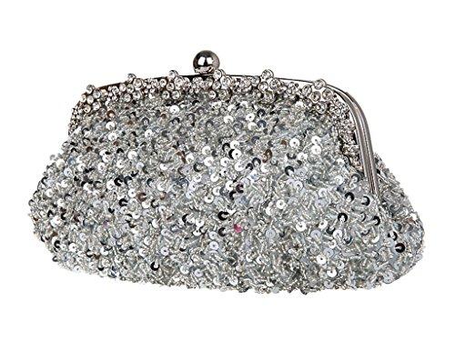 Abend Weiß weiß Größe Party Taschen Pailletten Damen Grau Kupplung AqxOFRww