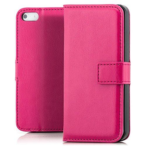 Saxonia Tasche Apple iPhone SE / 5 / 5S Hülle Flip Case Schutzhülle Handytasche mit Kartenfach Pink Pink