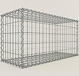 Steinkorb-Gabione eckig, Maschenweite 5 x 10 cm, Tiefe 40 cm, Spiralverschluss, galvanisch verzinkt (100 x 50 x 40 cm)