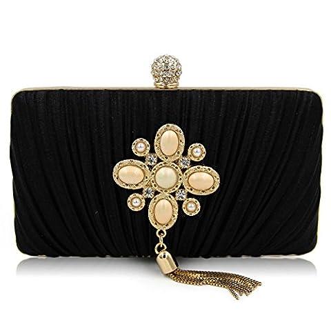 Nouveau Satiné Plis Sac De Soirée Perle Diamant Embrayage Chaîne Gland Sac De Soirée Sac à Main,Black-OneSize