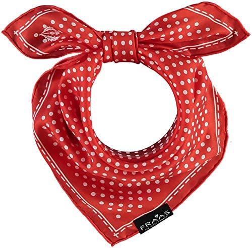 FRAAS Bandana Tuch gepunktet - elegantes Nickituch für Damen - schickes Seidentuch mit Polka Dots - Haarband gepunktet - Dreieckstuch für den Sommer Koralle