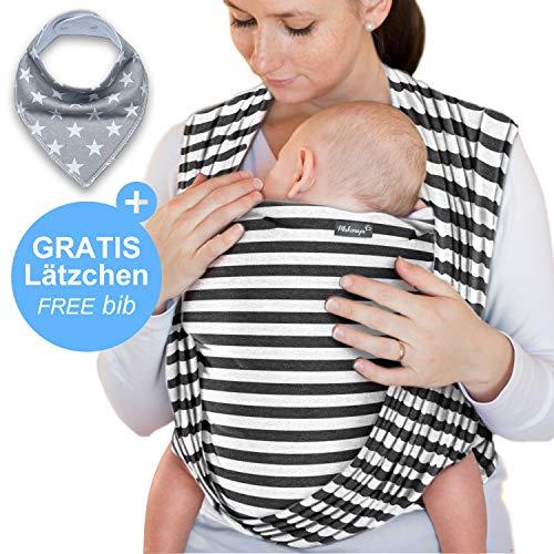 Babytragetuch Dunkelgrau mit Streifen – hochwertiges Baby-Tragetuch für Neugeborene und Babys bis 15 kg - inkl. GRATIS Baby-Lätzchen