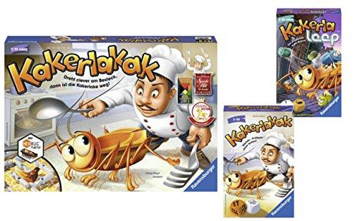 "Ravensburger Spiele-Set: 22212 - Kakerlakak + 23391 - Kakerlakak, Mitbringspiel + 23424 - \""Kakerlaloop Mitbringspiel"