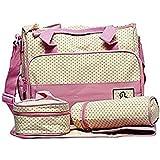 RIMJHIM TOYS 5pcs/set Baby Diaper Bag Nappy Mummy Bag Print Maternity Handbag Changing Baby Messenger Bag - ( IT N - 046 ) (Pink)