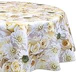 Wachstuchtischdecke OVAL RUND ECKIG Motiv u. Größe wählbar, Tischdecke Wachstuch abwischbar (Blumengarten Oval 130x170 cm)