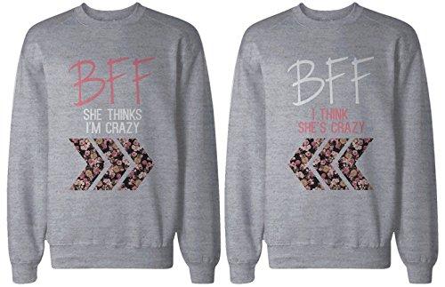 BFF regalo, accesorios BFF–Crazy BFF estampado Floral gris Sudaderas para mejores amigos -  -  izquierda-Large / derecho-Medium