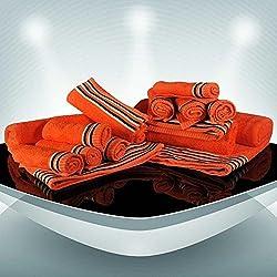 Trident Tiras 400g/m², Juego de 12 toallas de algodón (baño, mano y cara), Neón Naranja