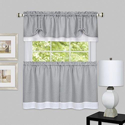 Achim Home Furnishings Darcy Window Curtain Tier & VALANCE Set, Tier-58 X 36 & VALANCE-58 (Darcy Curtain)