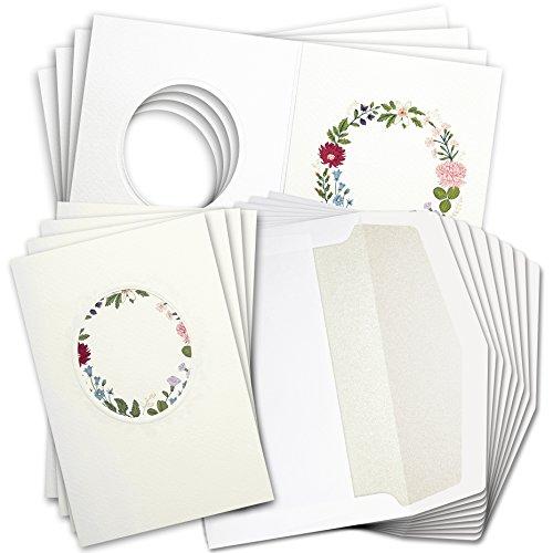 Blankokarten, BarunsonCard® SET-GBH8220, cremeweiß, 8 dreiseitige Karten inkl. 8 Umschläge, Einladung für Hochzeit, Geburtstag, Baby, Kommunion, Taufe, Jubiläum oder Danke schön