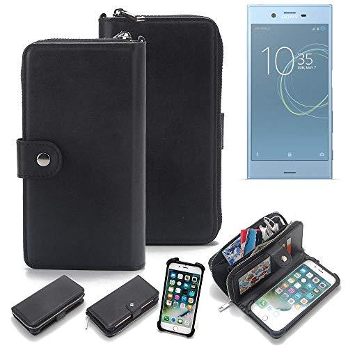 K-S-Trade 2in1 Handyhülle für Sony Xperia XZs Dual SIM Schutzhülle & Portemonnee Schutzhülle Tasche Handytasche Case Etui Geldbörse Wallet Bookstyle Hülle schwarz (1x)