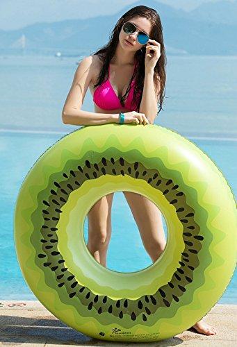 Jasonwell Riesige Kiwi Pool-Party Schwimmring 115cm breite aufblasbare Pool Luftmatratze schwimmen Wasser spielzeug Sommer Ring Floß Strand Ozean Spielzeug Outdoor für Kinder Erwachsene Mädchen mit speziellen schnell Ventilen