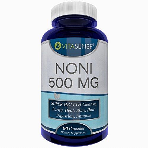 VitaSense Noni 500 Mg - SUPERGESUNDHEIT Reinigt, läutert, Heilt: Haut, Haar, schützt Verdauungs,- und Immunsystem - 60 Kapseln by RIVENBERT