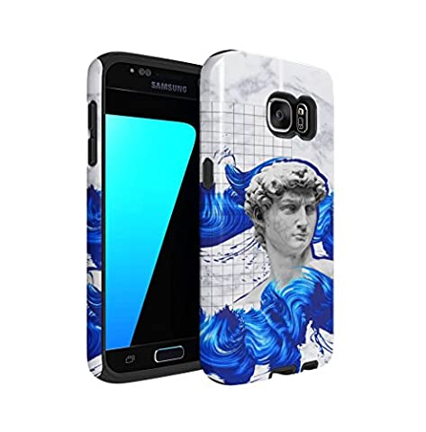 Antique Roman Marble Sculpture With Blue Paint Dashes Samsung Galaxy S7 Silicone Inner & Outer Hard PC Shell 2 Piece Hybrid Armor Case Cover
