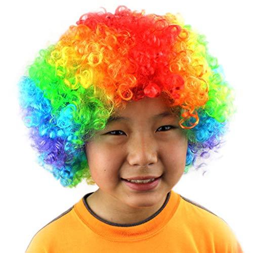 Lazzboy Maskerade Haar Party Disco Lustige Afro Clown Haar Fußball Fan-Kinder Afro Perücke(M,Mehrfarbig F)