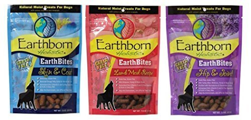 Earthborn Holistic EarthBites Grain-Free Gluten-Free Natural Moist Dog Treats 3 Flavor Variety Bundle: (1) EarthBites Lamb Meal Recipe Treats, (1) EarthBites Hip & Joint Treats, and (1) EarthBites Skin & Coat Treats, 7.5 Oz. Ea. (3 Bags Total) by Midwestern Pet Foods -