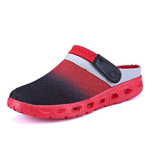 CCZZ Herren Damen Atmungsaktiv Mesh Sandalen Sommer Hausschuhe Rutschfest Outdoor Sport Pantoletten Sandalen Slip-On Garden Clogs (EU 44, Rot)