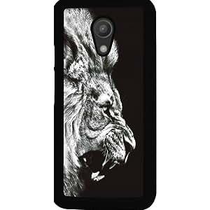 Casotec Angry Lion Design 2D Hard Back Case Cover for Motorola Moto G 2nd Generation - Black