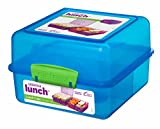 Sistema Lunchbox, Quadratisch, Plastik, Blau/grün, 14.5 x 15 x 9.5 cm