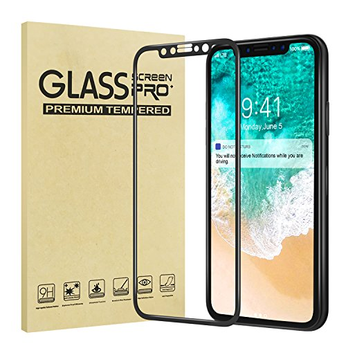 MoKo iPhone X / iPhone 10 Protector de Pantalla - Screen Protector 4D Cobertura Completa 9H Dureza Cristal Vidrio Templado Premium, Ultra HD Sin Burbujas Resistente Arañazos Membrana para Apple 5.8 pulgada iPhone X 2017, Negro