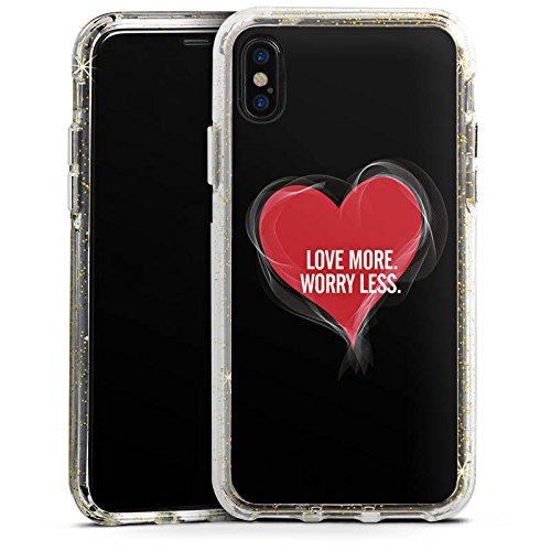 Apple iPhone 6s Bumper Hülle Bumper Case Glitzer Hülle Liebe Amour Love Bumper Case Glitzer gold