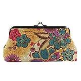 kingko® Femme Lady Retro Vintage Flower Portable Petit Sac Wallet Moraillon Pochette 18cmX9cm (Jaune)