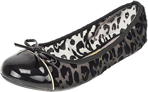 Butterfly Twists Damen Ballerina Olivia Flock Leopard Schuhe Schwarz Ballerina 42 (Rock Vintage Butterfly)