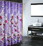 S-ZONE Schmetterling Orchidee Drucken Duschvorhang Verdicken Anti-Schimmel Polyester Wasserabweisend 180x180