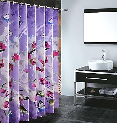 S-ZONE imprimé papillons Orchid moisissure Polyester Preuve Tissu Rideau de
