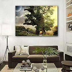 Giow La forêt d'art de Mur Moderne des Impressions de Toile de LED a allumé la Peinture allumée la Photo pour la décoration à la Maison Les Arbres Verts Matin Brumeux de Paysage de Printemps impr