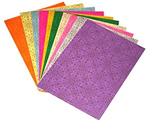 CraftDev Pack of 10 A4 Size Craft Paper Sheets with Single Side Decorative Pattern for Paper Arts & Crafts, Scrapbooking, School Projects, Hobbies, Gift Wrapping and More (Assorted Colors) (BANDHANI)