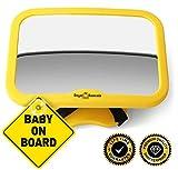 Royal Rascals, specchio per controllo bambino in auto, specchio | #1, ilpiù sicuro specchietto retrovisore per interno | giallo di sicurezza | si adatta a qualsiasi poggiatesta regolabile | funzione di inclinazione e rotazione | 100% infrangibile | sicurezza del prodotto ultra premium
