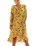 T.SEBAN Damen Kleider Cocktail Asymmetrisch Abendkleid Sommerkleid V-Ausschnitt (Gelb/Langarm, X-Large)