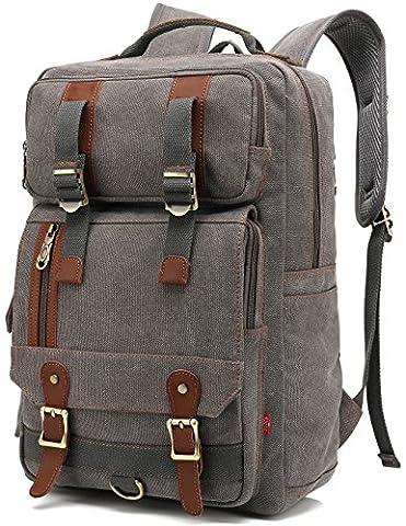 Faston Canvas Vintage Rucksack Rucksäcke Daypack Laptoprucksack für bis zu 14 zoll Laptop Notebook Schulrucksack Reiserucksack Wanderrucksäcke Taschen für Herren Damen