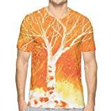K0k2t0 3D Printed T Shirts,Murky Original Hand Drawn Painting with Birches and Rain Drops Hazy Habitat M