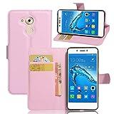 Guran® Funda de Cuero PU Para Honor 6C / Huawei Nova Smart Smartphone Función de Soporte con Ranura para Tarjetas Flip Case Cover Caso-rosa