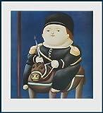 Bild mit Rahmen Fernando Botero - St. Georg - Holz blau, 50.0 x 54.8cm - Premiumqualität - MADE IN GERMANY - ART-GALERIE-SHOPde