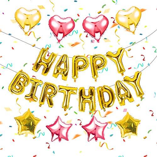 YMS Geburtstag Deko Happy Birthday Banner Girlande Buchstaben Folienballon, 4 Herz Konfetti Luftballons & 4 Stern Konfetti Folienballon für Mädchen Freundin Tochter (golden)