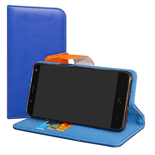 LiuShan BQ Aquaris VS/Aquaris V Hülle, Brieftasche Handyhülle Schutzhülle PU Leder mit Kartenfächer und Standfunktion für BQ Aquaris VS/Aquaris V (5,2 Zoll) Smartphone,Deep Blau