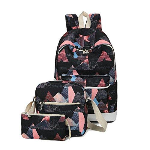 Frauen 3 Stück Leinwand Dreieck Muster Mädchen-Tasche Rucksack Multicolor Black