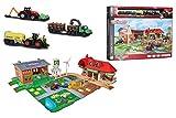 Majorette 212050009 Creatix Big Farm Set, Bauernhof-Spielset inklusiv 3 Fahrzeugen und 2 Anhägern, Traktor, Mähdrescher, Holzlader, Die-Cast