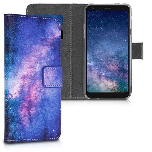 kwmobile LG Q7 / Q7+ / Q7a (Alpha) Hülle - Kunstleder Wallet Case für LG Q7 / Q7+ / Q7a (Alpha) mit Kartenfächern & Stand - Galaxie Sterne Design Rosa Pink Dunkelblau