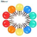 ELINKUME10er 1W E27 LED farbige Glühbirne,ersetzt 10W farbige leuchtmittel Glühlampe,mit 2835 SMD LEDs 210lumen Farbwechsel Lampe 180° Abstrahlwinkel LED Birne