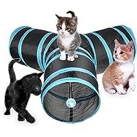 Chenci® Cat Tunnel Pieghevole Lettino per Gatti/ Conigli/ Cane con 3 Canali Perfetto per Fare gli Esercizi e Soddisfare la Curiosità al Gatto Blu